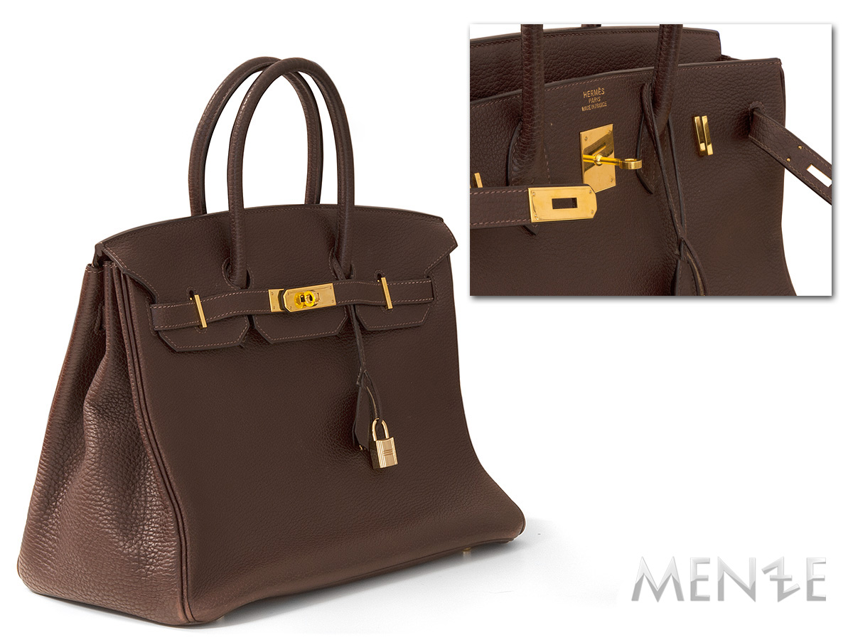 b16438f328c16 Hermès Hermes Birkin 35 TOGO Leder dunkel braun goldfarben 2005 (21618)